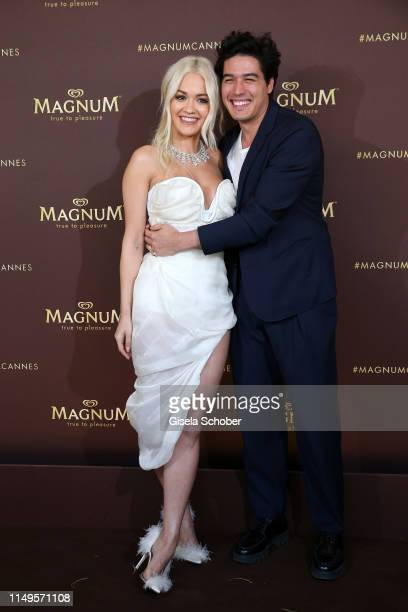 """Rita Ora and Cristiano Caccamo attend the photocall for """"MAGNUM x Rita Ora"""" during the 72nd annual Cannes Film Festival on May 16, 2019 in Cannes,..."""