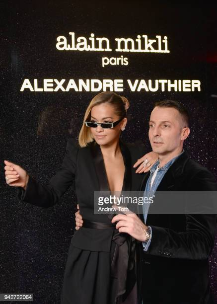Rita Ora and Designer Alexandre Vauthier attend the Alain Mikli x Alexandre Vauthier Launch Party on April 5 2018 in New York City