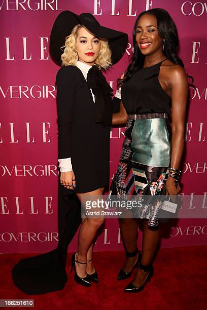 Rita Ora and DJ Kiss attend the 4th Annual ELLE Women in Music Celebration presented by Covergirl at The Edison Ballroom on April 10 2013 in New York...