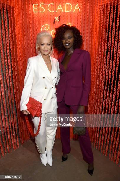 Rita Ora and Duckie Thot attend the launch of the ESCADA Heartbag by Rita Ora on March 27 2019 in New York City