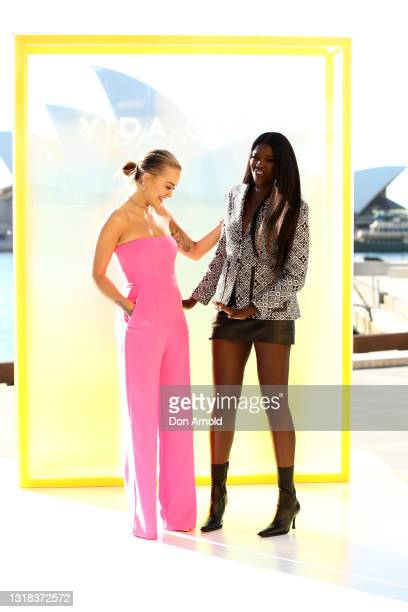 Rita Ora and Duckie Thot attend the Vide Glow global launch at Sydney Harbour on May 17, 2021 in Sydney, Australia.