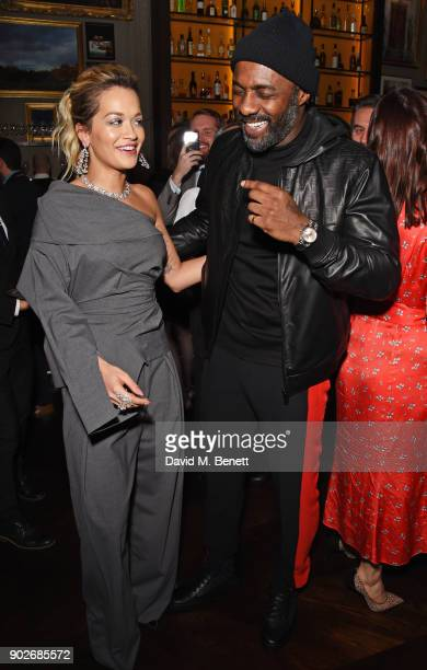 Rita Ora and Idris Elba attend the GQ London Fashion Week Men's 2018 closing dinner hosted by Dylan Jones and Rita Ora at Berners Tavern on January 8...