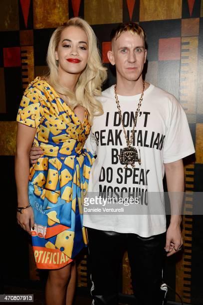 Rita Ora and Jeremy Scott attend Moschino Dinner during the Milan Fashion Week Womenswear Autumn/Winter 2014 at Giacomo Arengario Restaurant on...