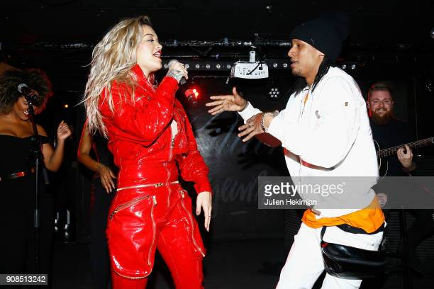 Rita Ora and Laurent Bourgeois perform on stage during the Kilian Party as part of Paris Fashion Week on January 21 2018 in Paris France
