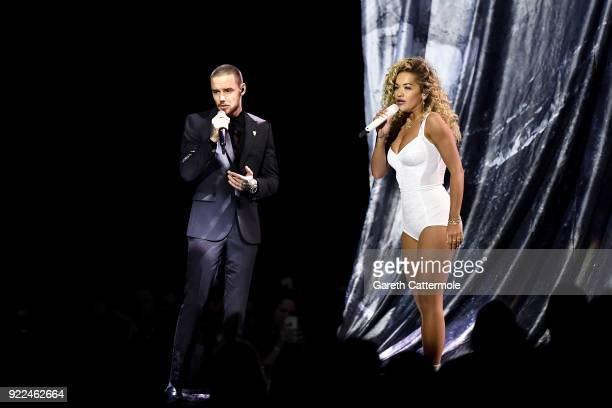 AWARDS 2018 *** Rita Ora and Liam Payne perform at The BRIT Awards 2018 held at The O2 Arena on February 21 2018 in London England