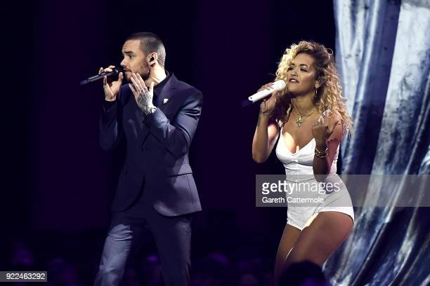 Rita Ora and Liam Payne perform at The BRIT Awards 2018 held at The O2 Arena on February 21, 2018 in London, England.