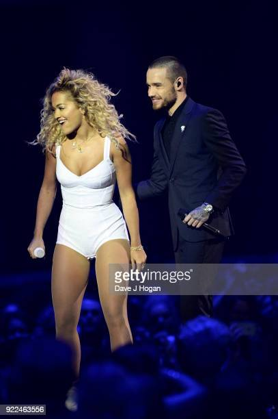 Rita Ora and Liam Payne perform on stage at The BRIT Awards 2018 held at The O2 Arena on February 21, 2018 in London, England.