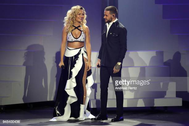 Rita Ora and Liam Payne perform on stage during the Echo Award show at Messe Berlin on April 12 2018 in Berlin Germany