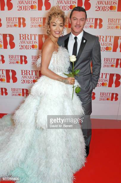 AWARDS 2018 *** Rita Ora and Luke Evans attend The BRIT Awards 2018 held at The O2 Arena on February 21 2018 in London England