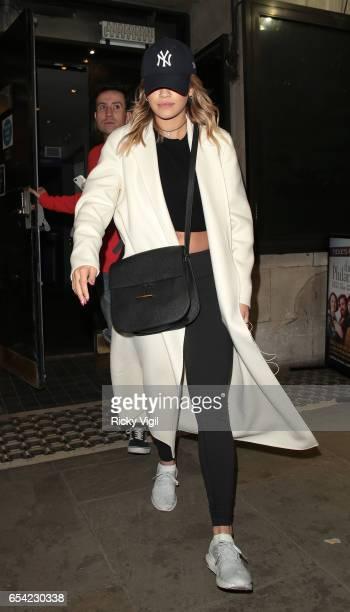 Rita Ora and Nick Grimshaw enjoy a night out at Trafalgar Studio theatre watching Douglas Booth perform at Speech and Debate on March 16 2017 in...