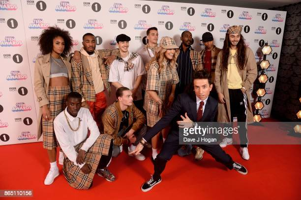 Rita Ora and Nick Grimshaw pose with models at the BBC Radio 1 Teen Awards 2017 at Wembley Arena on October 22 2017 in London England