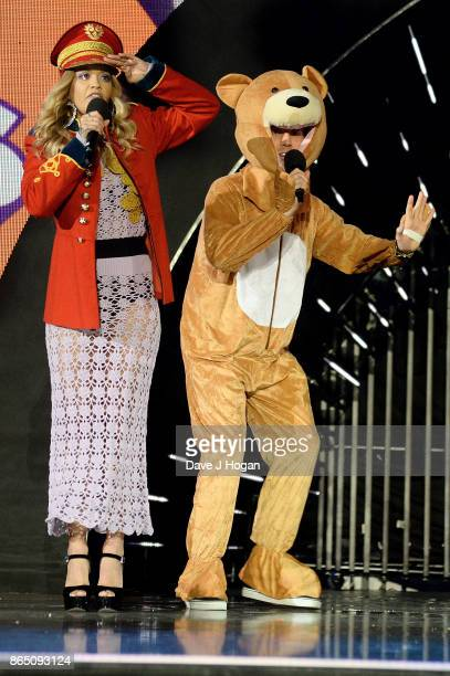 Rita Ora and Nick Grimshaw speak on stage at the BBC Radio 1 Teen Awards 2017 at Wembley Arena on October 22 2017 in London England