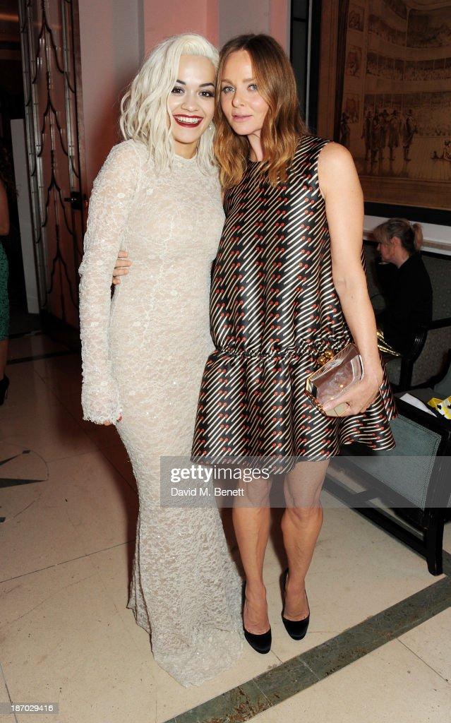 Rita Ora (L) and Stella McCartney attend the Harper's Bazaar Women of the Year awards at Claridge's Hotel on November 5, 2013 in London, England.