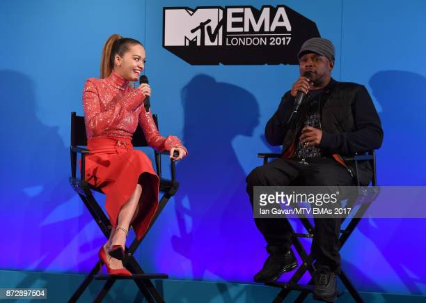Rita Ora and Sway speak on stage during the Velocity 'On Set with Viacom' Showcase held at Ambika P3 ahead of the MTV EMAs 2017 on November 11 2017...