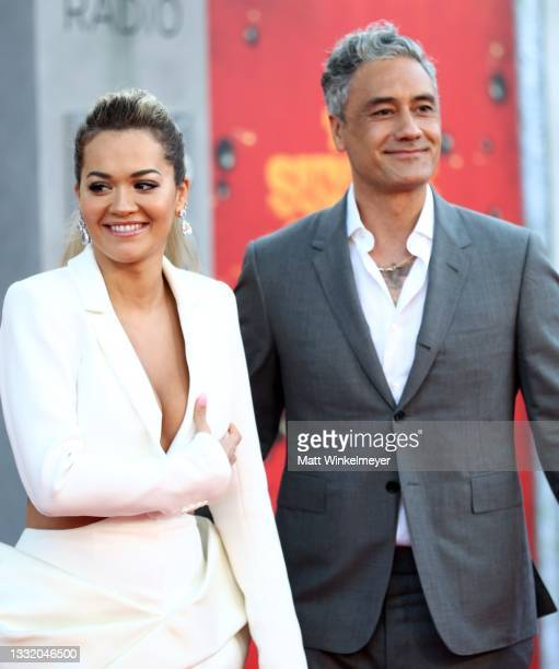 """Rita Ora and Taika Waititi attend the Warner Bros. Premiere of """"The Suicide Squad"""" at Regency Village Theatre on August 02, 2021 in Los Angeles,..."""