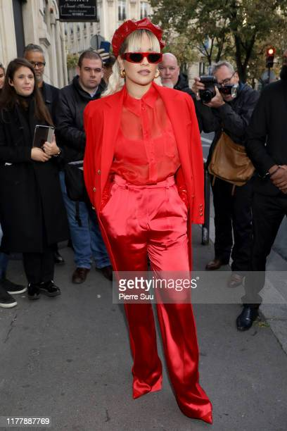 Rita Ora arrives at an 'Escada'event on September 29, 2019 in Paris, France.