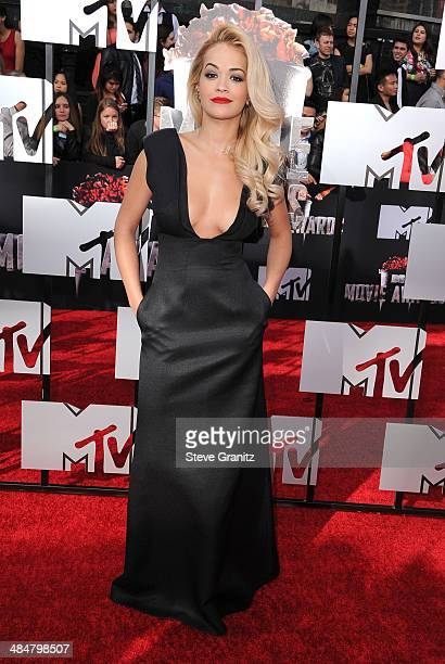 Rita Ora arrives at the 2014 MTV Movie Awards at Nokia Theatre LA Live on April 13 2014 in Los Angeles California