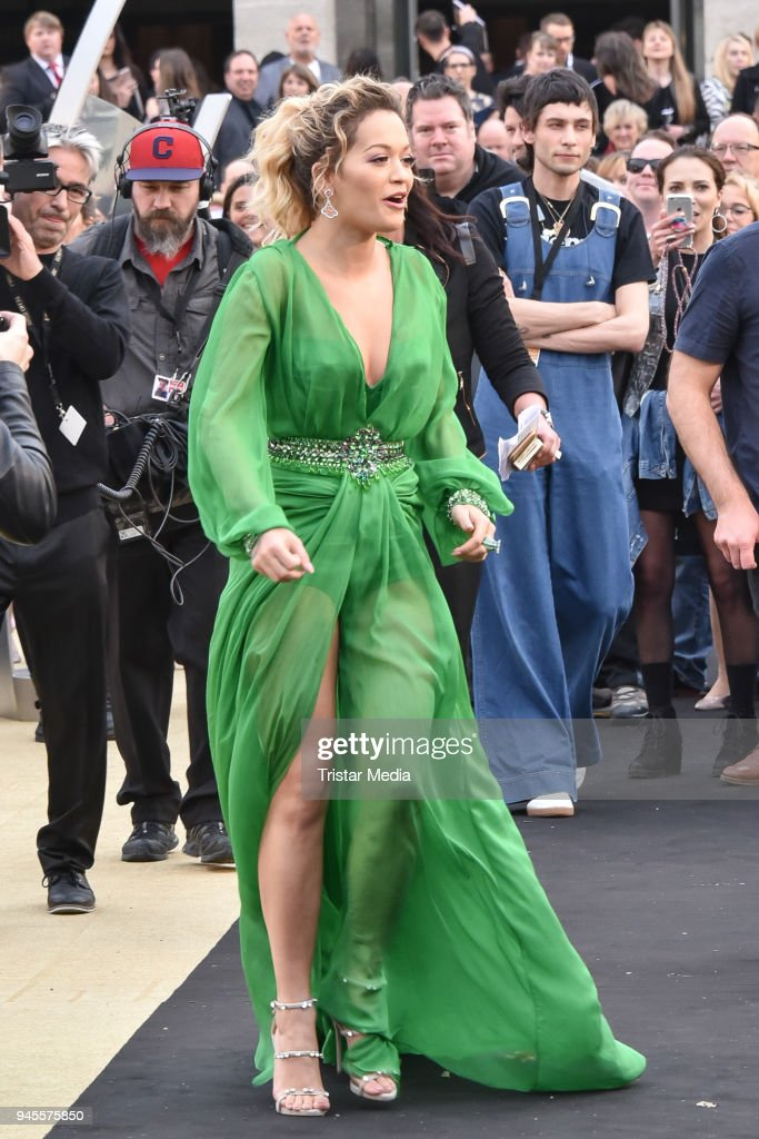Rita Ora arrives at the Echo Award 2018 at Messe Berlin on April 12, 2018 in Berlin, Germany.