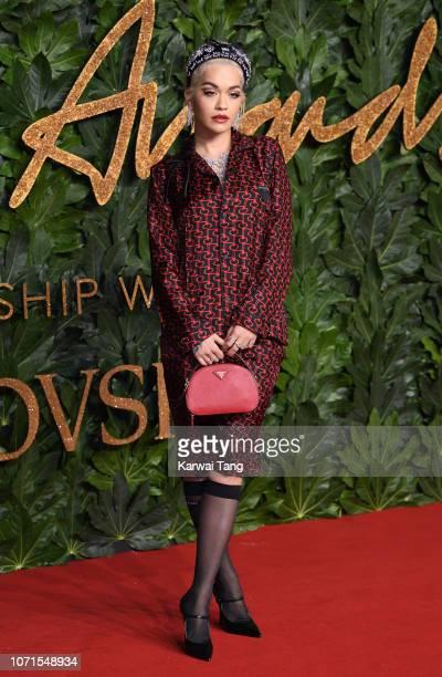 Rita Ora arrives at The Fashion Awards 2018 In Partnership With Swarovski at Royal Albert Hall on December 10, 2018 in London, England.