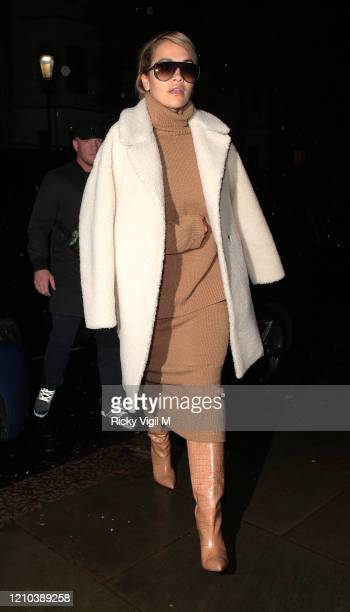 Rita Ora arrives back home after Paris Fashion Week on March 04, 2020 in London, England.