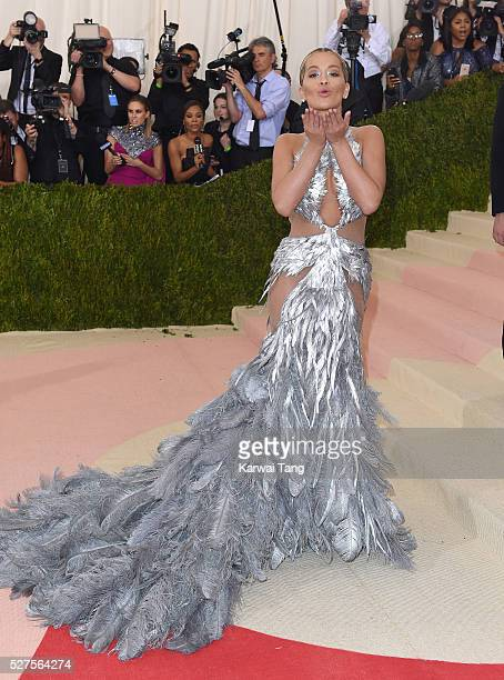 Rita Ora arrives for the Manus x Machina Fashion In An Age Of Technology Costume Institute Gala at Metropolitan Museum of Art on May 2 2016 in New...