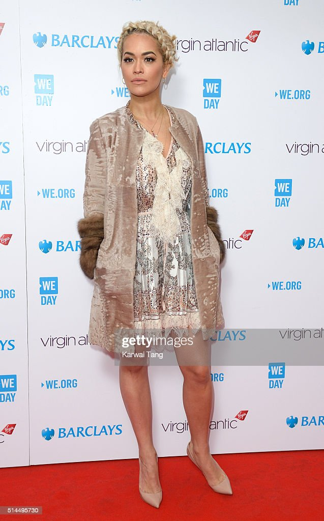 Rita Ora arrives for WE Day at SSE Arena on March 9, 2016 in London, England. WE Day is a celebration of youth making a difference in their local and global communities.