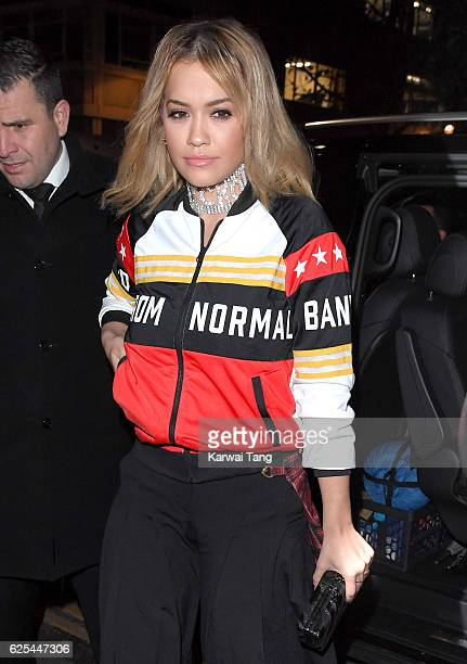 Rita Ora arrives to host an intimate dinner to celebrate her newest collaboration with Adidas at The Ivy Chelsea Garden on November 23 2016 in London...