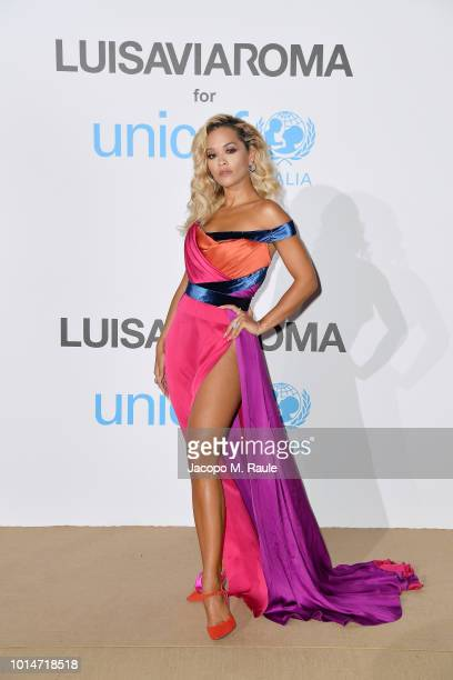 Rita Ora attends a photocall for the Unicef Summer Gala Presented by Luisaviaroma at Villa Violina on August 10 2018 in Porto Cervo Italy