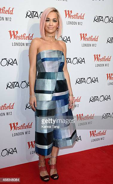 Rita Ora attends a photocall prior to switching on the Westfield London Christmas Lights at Westfield London on November 3 2014 in London England