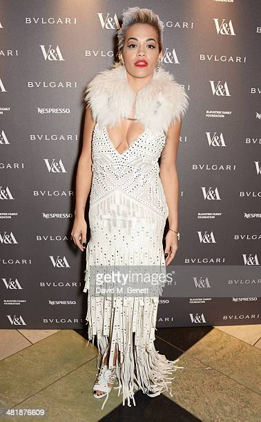Rita Ora attends a private dinner celebrating the Victoria and Albert Museum's new exhibition 'The Glamour Of Italian Fashion 1945 2014' at Victoria...