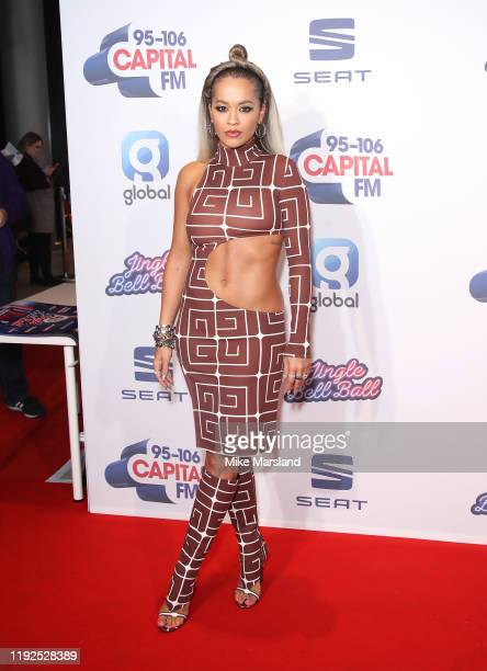 Rita Ora attends Capital's Jingle Bell Ball 2019 at The O2 Arena on December 07, 2019 in London, England.