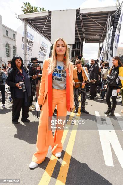 Rita Ora attends March For Our Lives Los Angeles on March 24 2018 in Los Angeles California