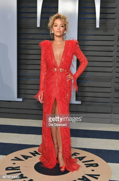 Rita Ora attends the 2018 Vanity Fair Oscar Party hosted by Radhika Jones at Wallis Annenberg Center for the Performing Arts on March 4 2018 in...