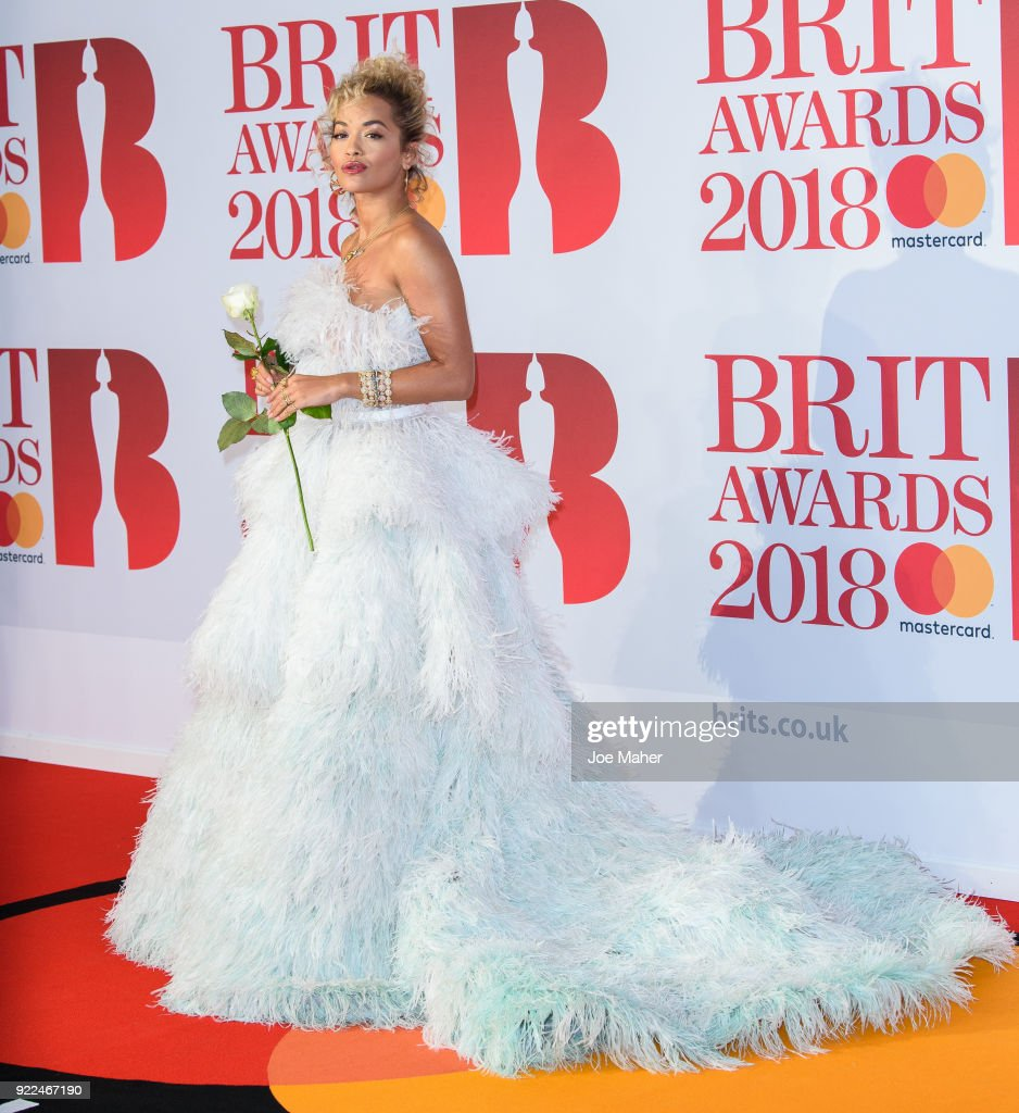 Rita Ora attends The BRIT Awards 2018 held at The O2 Arena on February 21, 2018 in London, England.