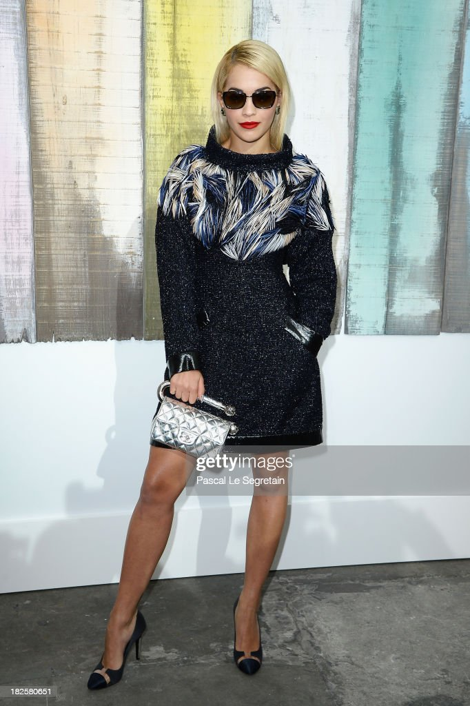 Rita Ora attends the Chanel show as part of the Paris Fashion Week Womenswear Spring/Summer 2014 at Grand Palais on October 1, 2013 in Paris, France.