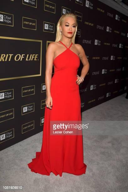 Rita Ora attends the City of Hope Spirit of Life Gala 2018 at Barker Hangar on October 11 2018 in Santa Monica California