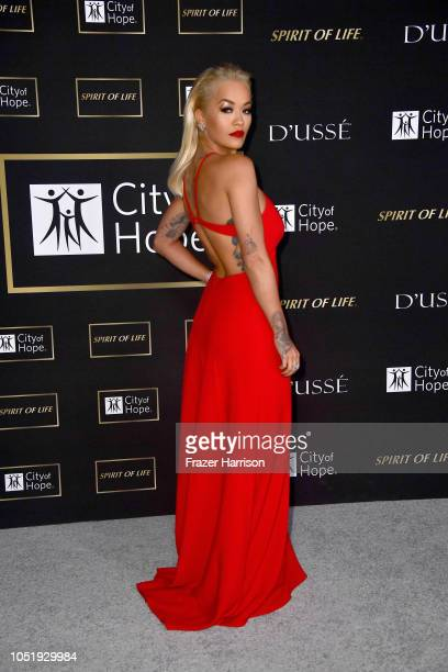 Rita Ora attends the City of Hope Spirit of Life Gala 2018 at Barker Hangar on October 11 2018 in Santa Monica California