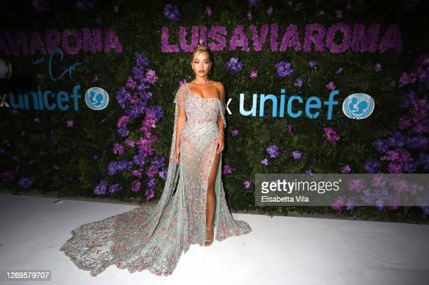 Rita Ora attends the photocall at the LuisaViaRoma for Unicef event at La Certosa di San Giacomo on August 29, 2020 in Capri, Italy.