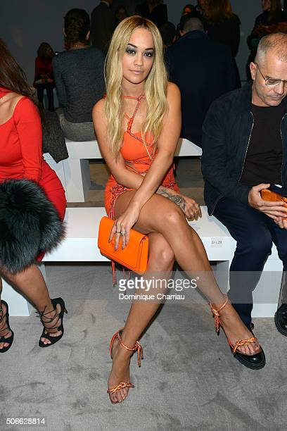 Rita Ora attends the Versace Haute Couture Spring Summer 2016 show as part of Paris Fashion Week on January 24 2016 in Paris France