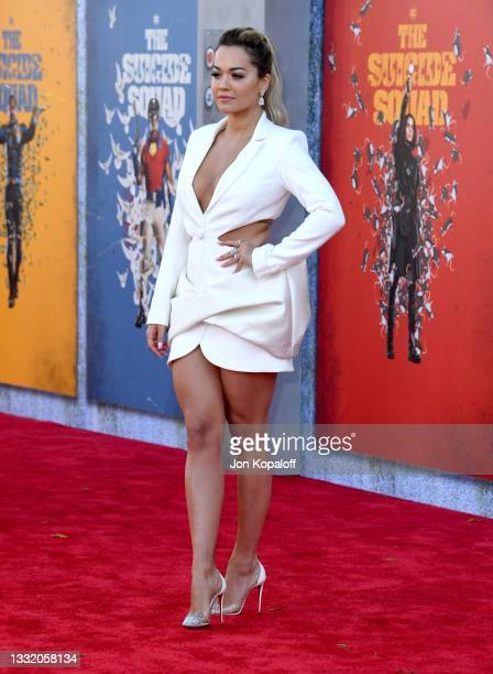 """Rita Ora attends the Warner Bros. Premiere of """"The Suicide Squad"""" at Regency Village Theatre on August 02, 2021 in Los Angeles, California."""