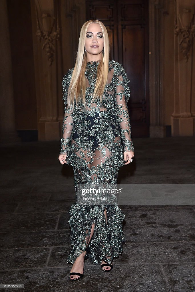 Rita Ora attends Vogue Cocktail Party honoring photographer Mario Testino on February 27, 2016 in Milan, Italy.