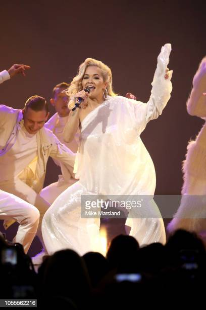 Rita Ora attends Westfield London's 10th anniversary celebrations at Westfield White City on October 30, 2018 in London, England.