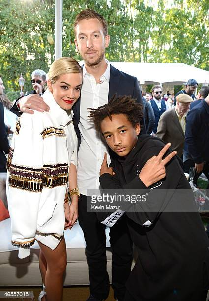 Rita Ora Calvin Harris and Jaden Smith attend the Roc Nation PreGRAMMY Brunch presented by MAC Viva Glam at Private Residence on January 25 2014 in...