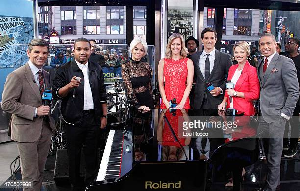 "Rita Ora & Charles Hamilton perform live on ""Good Morning America,"" 4/20/15, airing on the Walt Disney Television via Getty Images Television Network."