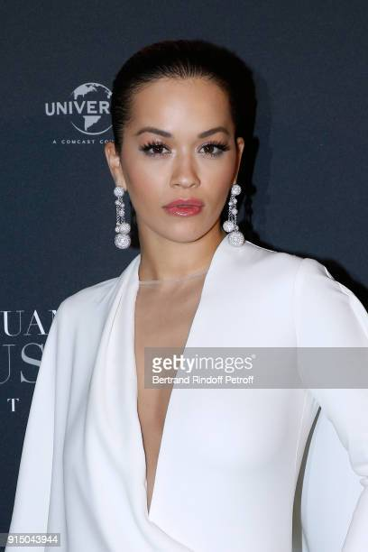 Rita Ora dressed in Stephane Rolland attends the Fifty Shades Freed 50 Nuances Plus Clair Paris Premiere at Salle Pleyel on February 6 2018 in Paris...