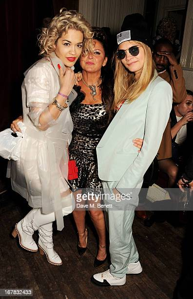 Rita Ora Fran Cutler and Cara Delevingne attend Fran Cutler's surprise birthday party supported by ABSOLUT Elyx at The Box Soho on April 30 2013 in...