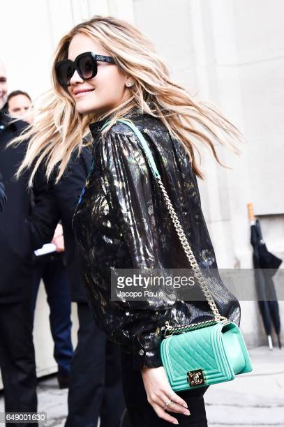 Rita Ora is seen arriving at Chanel fashion show during the Paris Fashion Week Womenswear Fall/Winter 2017/2018 on March 7 2017 in Paris France