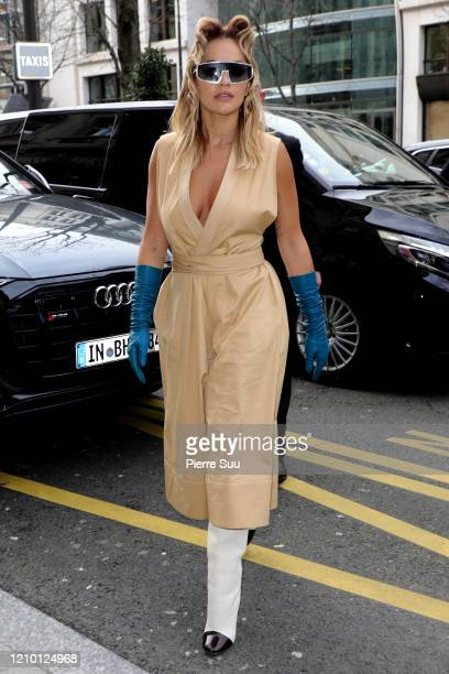 Rita Ora is seen arriving at the Royal Monceau Hotel on March 03, 2020 in Paris, France.
