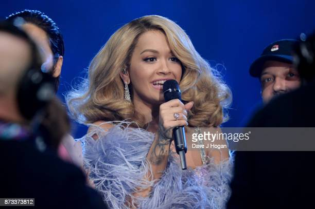 Rita Ora is seen in the glamour pit during the MTV EMAs 2017 held at The SSE Arena Wembley on November 12 2017 in London England