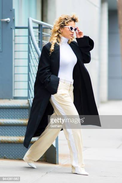 Rita Ora is seen wearing a Wolford top Vetements jacket and Stella McCartney pants in SoHo on April 10 2018 in New York City